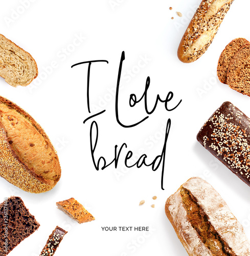 Vászonkép Creative layout made of  quote I love bread