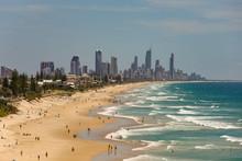 View Across Beach Towards Gold Coast CIty In Queensland