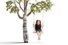 Little Schoolgirl On A Swing H...