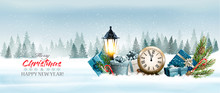 Holiday Christmas Panorama With A Winter Landscape And  Gift Boxes With Clock. Vector.