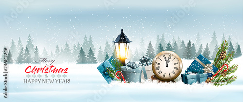 Garden Poster Light blue Holiday Christmas panorama with a winter landscape and gift boxes with clock. Vector.