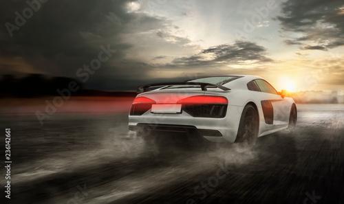 Photo Stands Motor sports schneller Sportwagen rast über nasse Straße