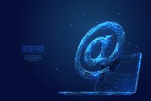 Internet Service Low Poly Blue