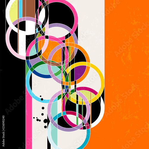 abstract circle vector art, retro/vintage style, with paint strokes and splashes