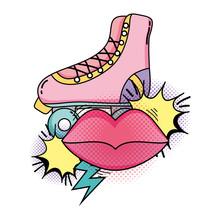 Retro Skate With Mouth Pop Art...