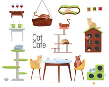 Set Of Items For Cat Cafe From Different Cats And Furniture - Cat Houses And Tables With Cups Of Coffee On White Background. Cats Sit At The Table And Drink Tea. Flat Cartoon Style Vector Illustration