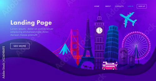 Fotografía  Landing page template design with famous landmarks in modern neon night style for travel or tourism website