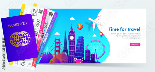 Travel banner design with famous landmarks in modern gradient style for travel or tourism website, passport with tickets. Vector illustration