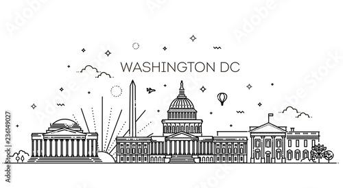 Fotografía  Washington USA skyline and landmarks silhouette