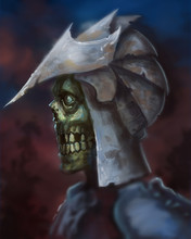 Portrait Of A Skeleton Warrior Wearing Medieval Helmet Dramatic Light - Digital Fantasy Painting