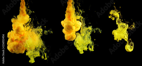 Acrylic colors in water. Ink blot. Abstract background. Collection on black.