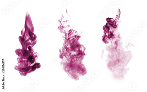 Magenta smoke blot isolated on white