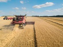 Harvest Aerial Of Combine Harv...