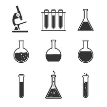 Laboratory Icon Set. Vector Illustration, Flat Design.