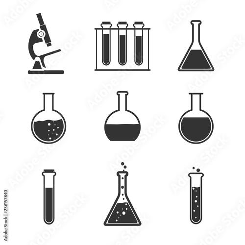 Laboratory icon set. Vector illustration, flat design. Wallpaper Mural