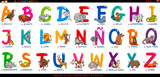 Fototapeta Fototapety na ścianę do pokoju dziecięcego - spanish alphabet with cartoon animals set