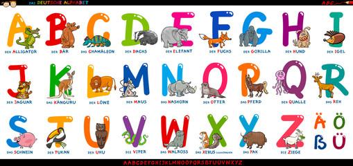 german alphabet with cartoon animals set