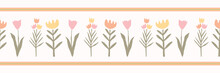 Spring Flowers Seamless Vector Border. Soft Pastel Colors. Paper Cut Collage Blooms On White Background. Drawn Stylized Tulip Blossom Stem For Garden Stationery, Ribbon, Eco Friendly Floral Packaging.