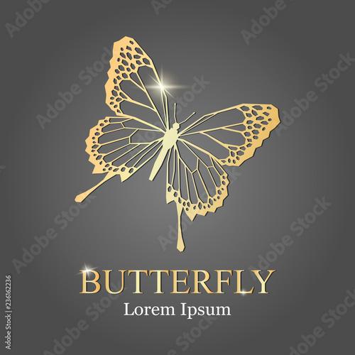 Obraz na plátně golden butterfly logo