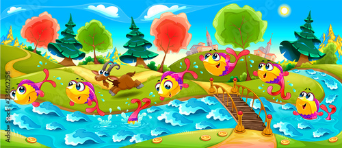 Poster Kinderkamer Happy Fish are dancing in the river