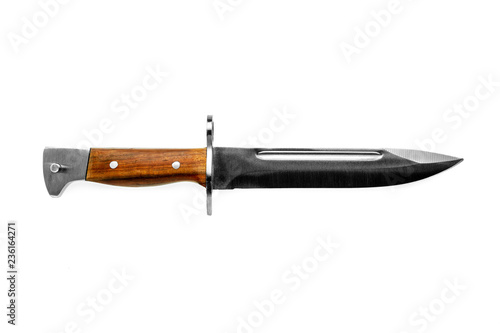 Fotomural vintage combat knife bayonet isolated on white background.