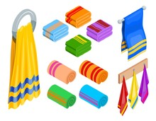 Set Of Different Towels In Isometric Style On A White Background. Hygiene Items, Bath Accessories. Vector Illustration. Icons Of Body Care, Sauna, Spa, Massage.