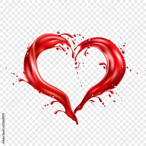 Fototapeta Vector red wine splash in heart shape obraz