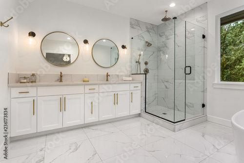 Valokuvatapetti Bathroom in New Luxury Home: Master Ensuite Bathroom with Two Sinks and Shower