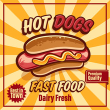 Hot Dogs Banner Retro
