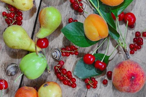 Fotobehang Groenten mixed fruit on the rustic table