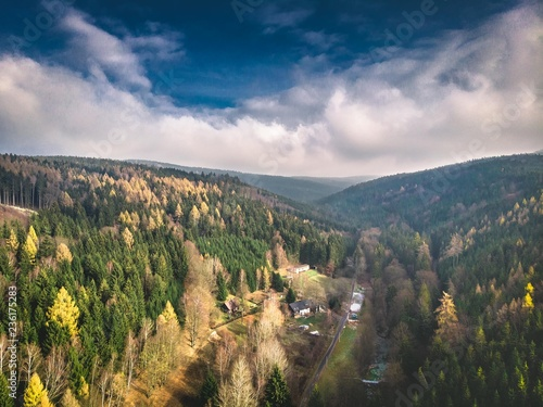 Fotografie, Obraz  Ariel mountain forest shot, Czech Republic