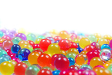 Colors Of Rainbow. Multicolored Hydrogel Balls Texture Background. Small Colorful Beads Copy Spaces. Color Concept