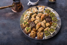 Traditional Eastern Sweets - Baklava And Delights With Coffee.