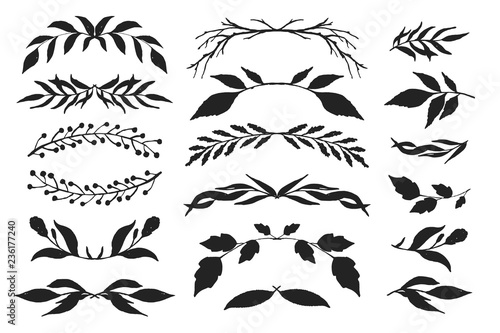 Drawing floral branches and leaves for decoration or design Wallpaper Mural