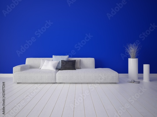 Fototapety, obrazy: Mock up stylish lounge with a comfortable bright sofa and blue background.