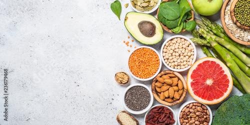 Superfoods, healthy food on light background. Wallpaper Mural