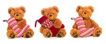 Three Teddy Bears With Christmas Stocking