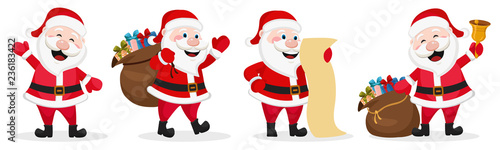 Photo  Set of Santa Claus in different poses. Christmas character