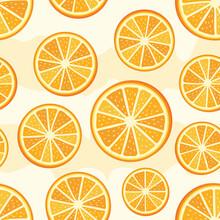 Orange Sliced Pattern. Seamless Orange Slices Background. Vector Orange Pattern