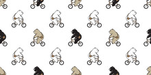 Bear Seamless Pattern Vector Polar Bear Bicycle Riding Scarf Isolated Cartoon Illustration Tile Background Repeat Wallpaper Doodle