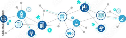 Obraz product management / product development / product marketing – vector illustration - fototapety do salonu