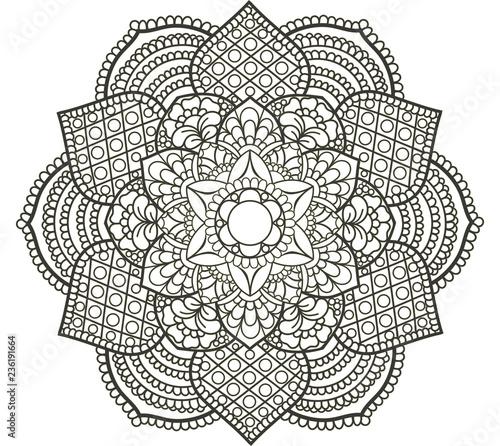 Black Doodle Lace Mandala On A White Background Template
