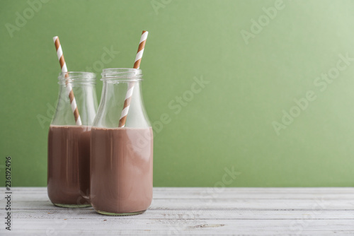 Two bottles chocolate milk