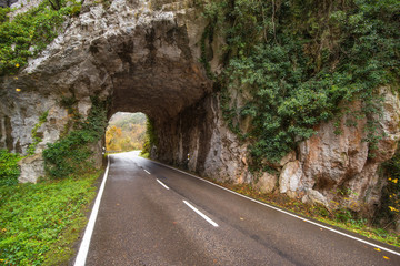 Stone tunnel road in mountain scenary in Somiedo natural park, Asturias, Spain.