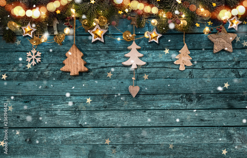 Christmas decoration on wooden background Poster Mural XXL