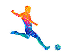Abstract Professional Soccer Player Quick Shooting A Ball From Splash Of Watercolors