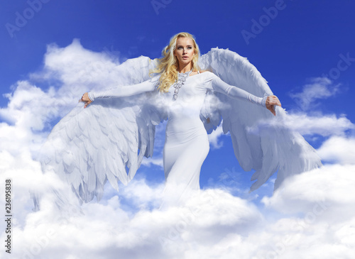 Foto op Canvas Artist KB Conceptual portrait of a blond angel flying up to the sky