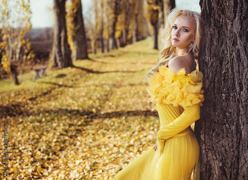 Foto op Canvas Artist KB Portrait of a blonde wearing a flowery, golden gown