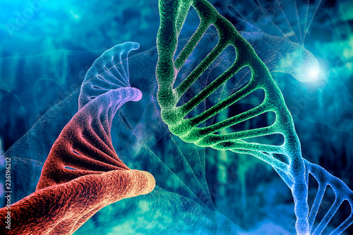 Stampa su Tela  DNA strand and Cancer Cell Oncology Research Concept 3D rendering, abstract back