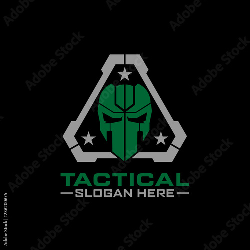 Fotografía  tactical mask skull logo design template
